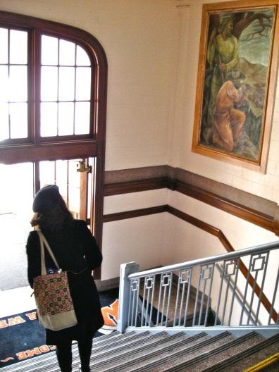 She walked southeast towards Ethel Magafan's mural blocks away.