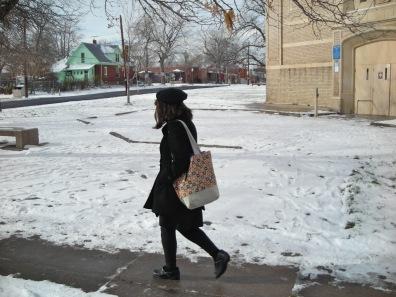 She walked until she ran into Allison.
