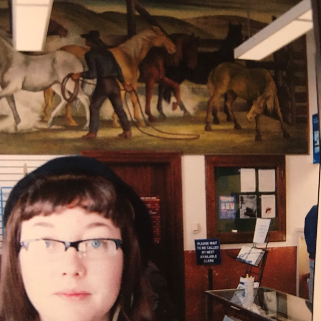 """Allison started at Ethel Magafan's mural """"The Horse Corral"""" at the post office at 225 South Broadway."""