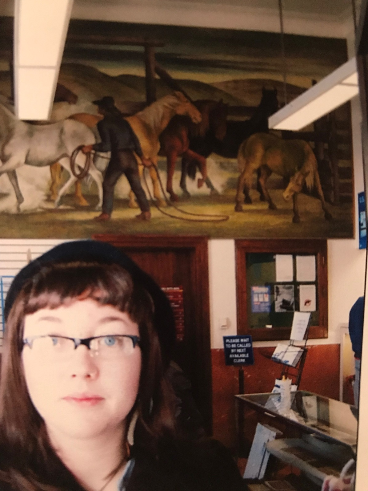 "Allison started at Ethel Magafan's mural ""The Horse Corral"" at the post office at 225 South Broadway."